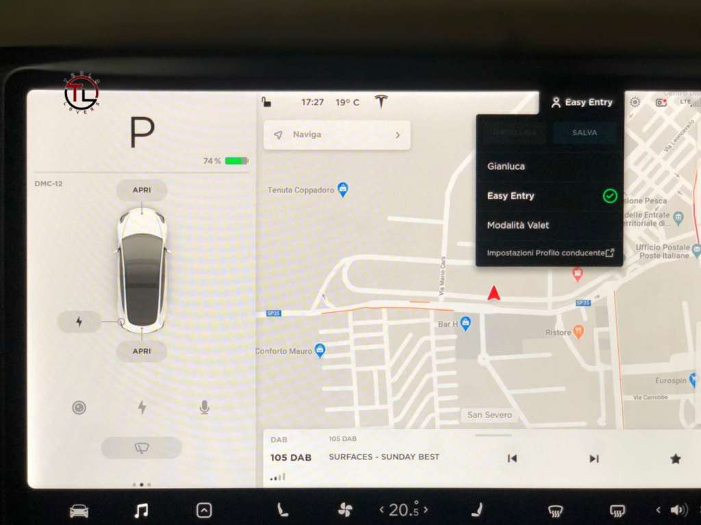 Modalità Valet sulla Tesla dove compare