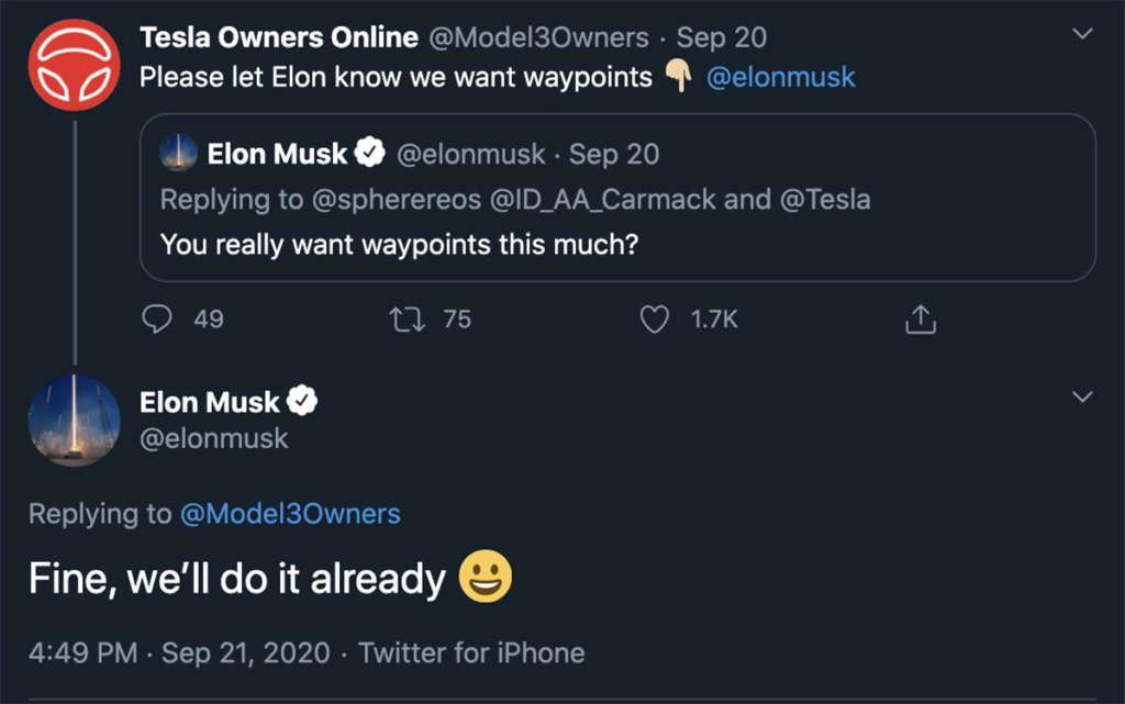 La conferma di Musk, waipont nei tragitti