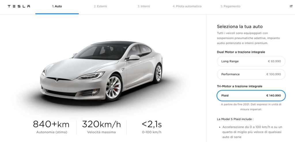 Novità del battery day la Model S Plaid