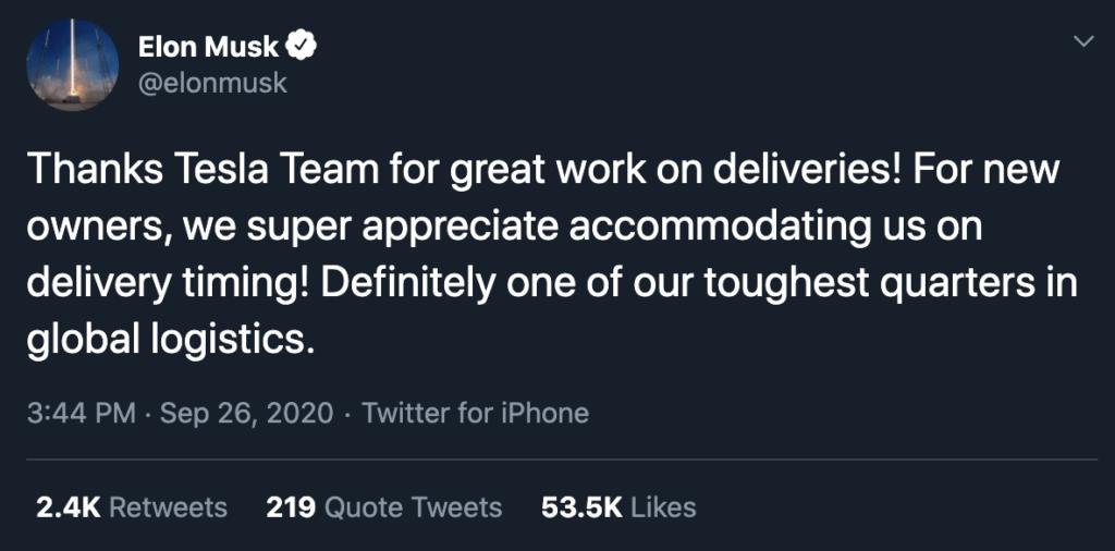 Terzo trimestre ottimistico per Tesla